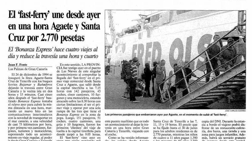 Artículo aparecido en LA PROVINCIA tras el viaje inaugural del Bonanza Express en 1999.
