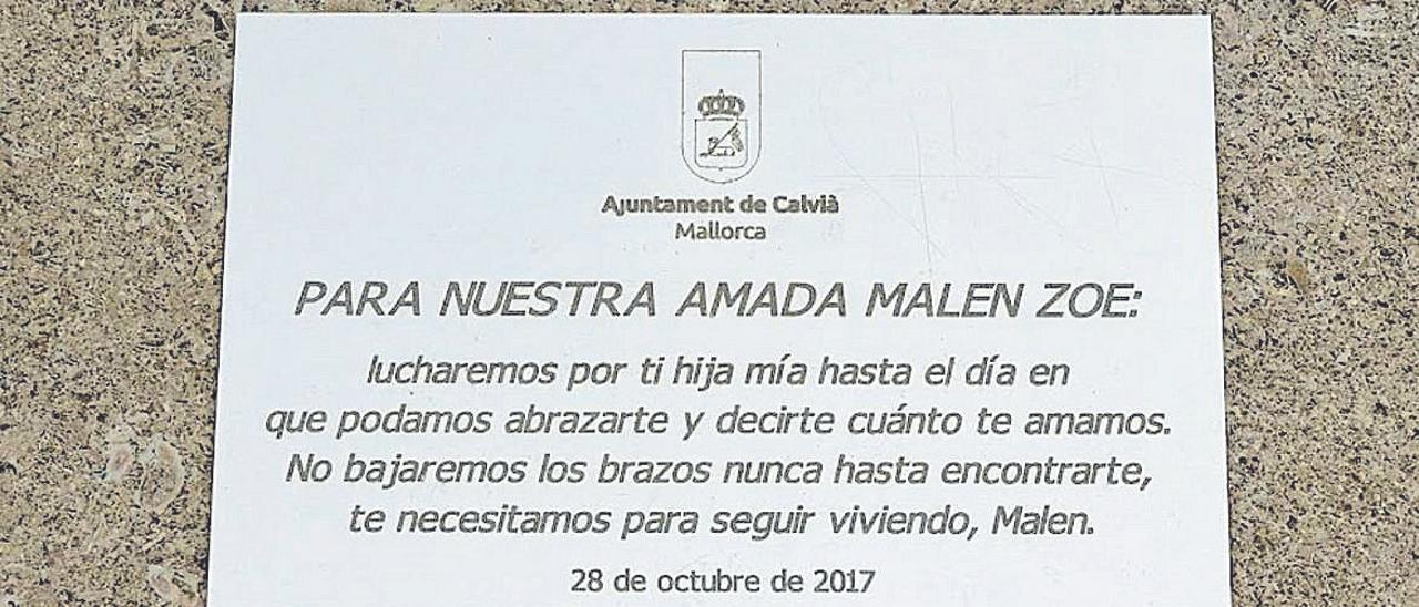 La placa en memoria de Malén Ortiz que ha sido sustraída en Santa Ponça.