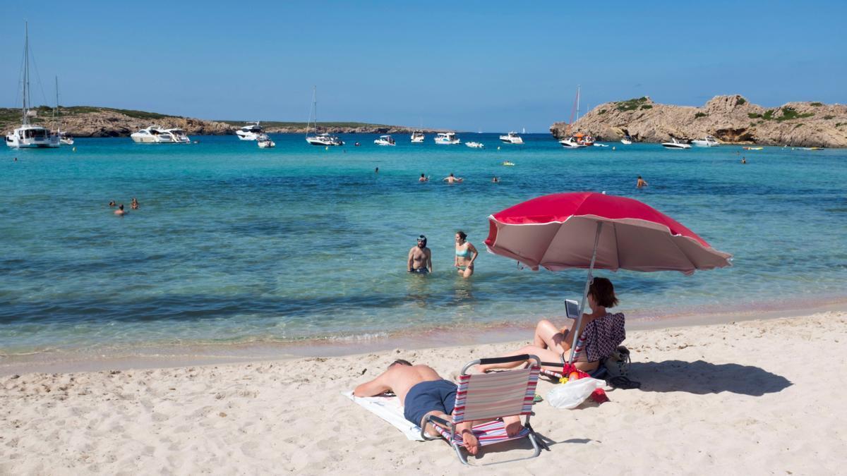 Tourists on a Spanish beach.