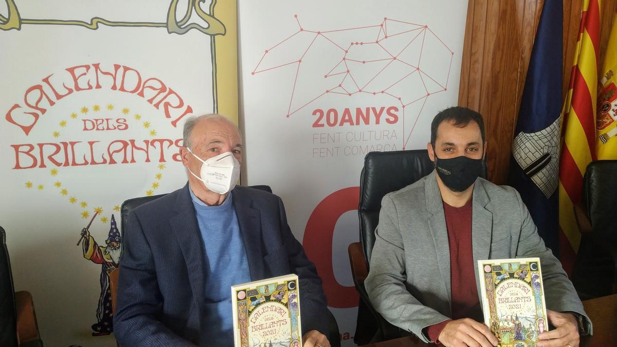 Joan Josep Cardona y José Ramiro, en la presentación hoy del Calendari dels Brillants