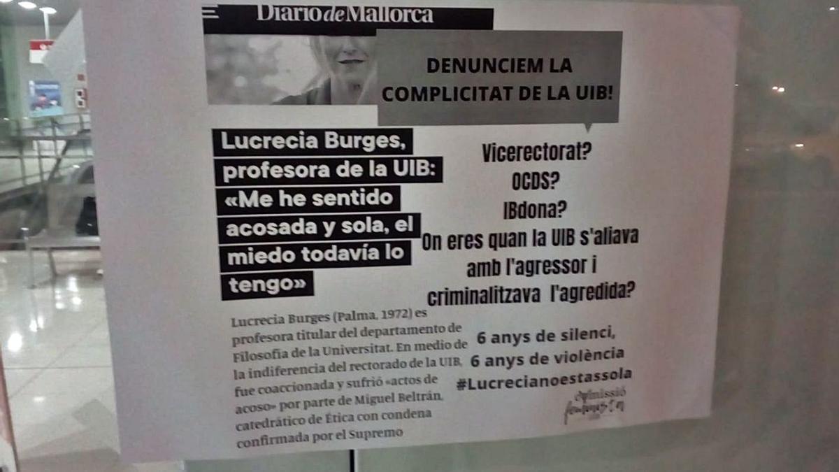 Ofensiva contra la UIB por  el acoso a una profesora