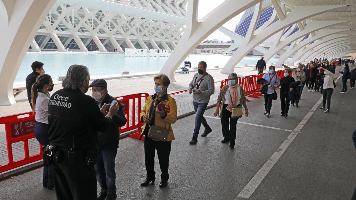 Varias personas entre 70 y 79 años hacen cola para vacunarse en el Museo Príncipe Felipe, esta semana.