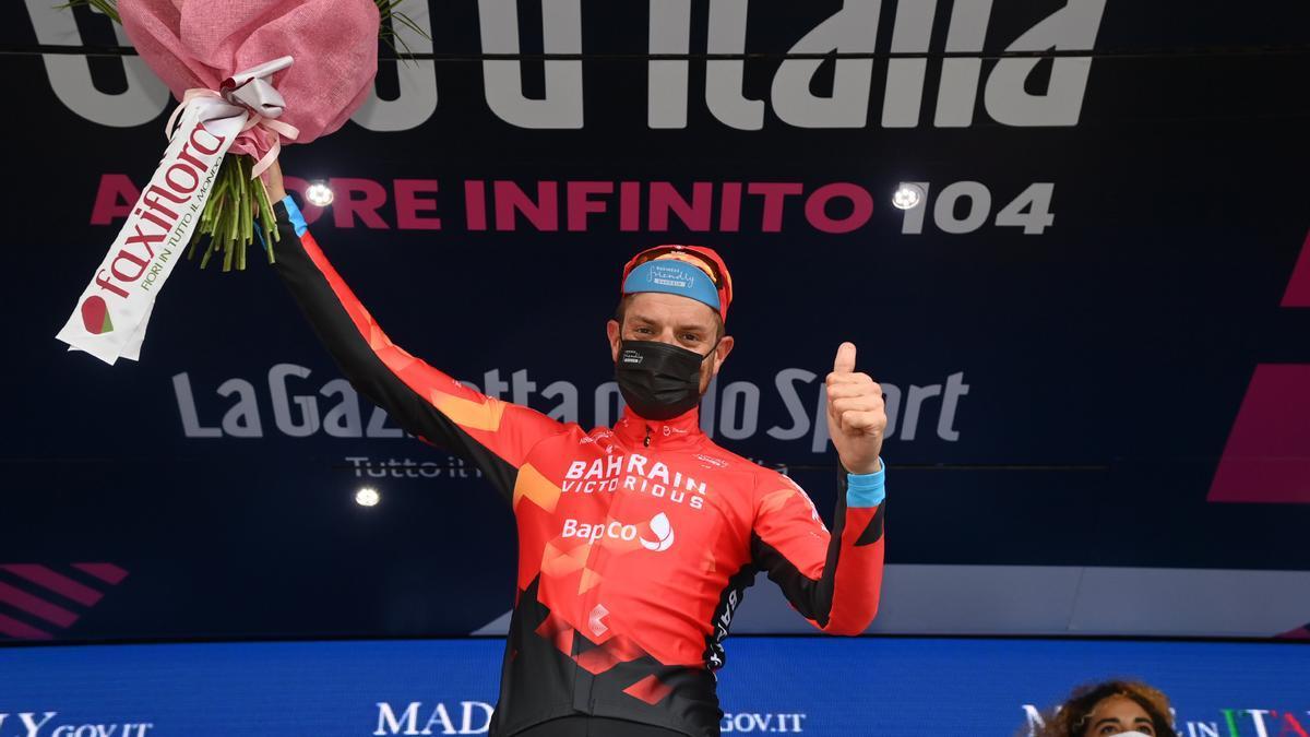 Damiano Caruso, el ciclista ganador de la etapa 20 del Giro de Italia.