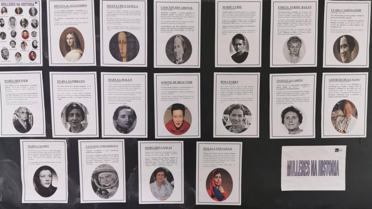 Panel de mujeres en la historia en el IES A Guía. Línea del tiempo.