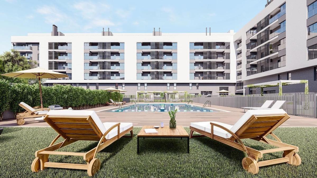 Torrent homes, complejo residencial con espacios verdes y dúplex con jardín privado.