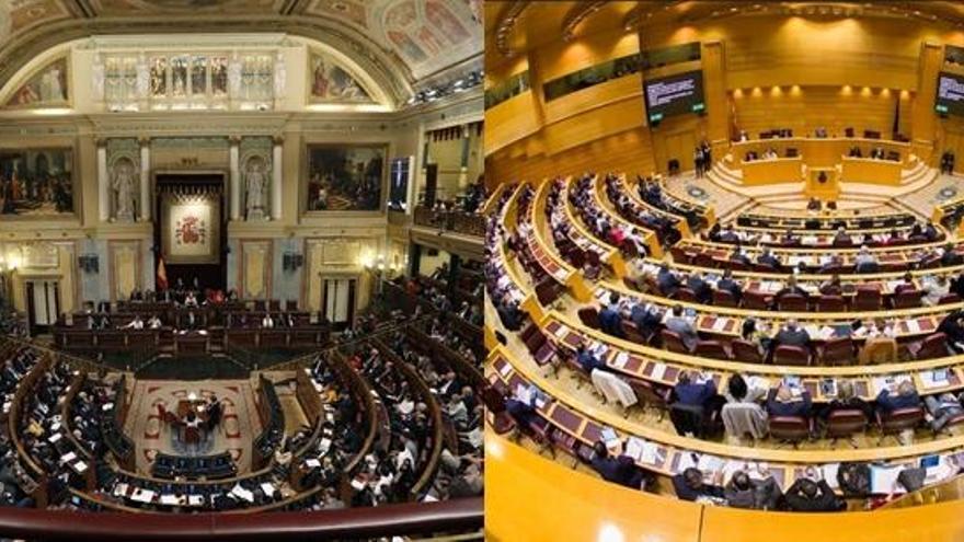 ¿Cómo se distribuyen los escaños en el Congreso y el Senado?