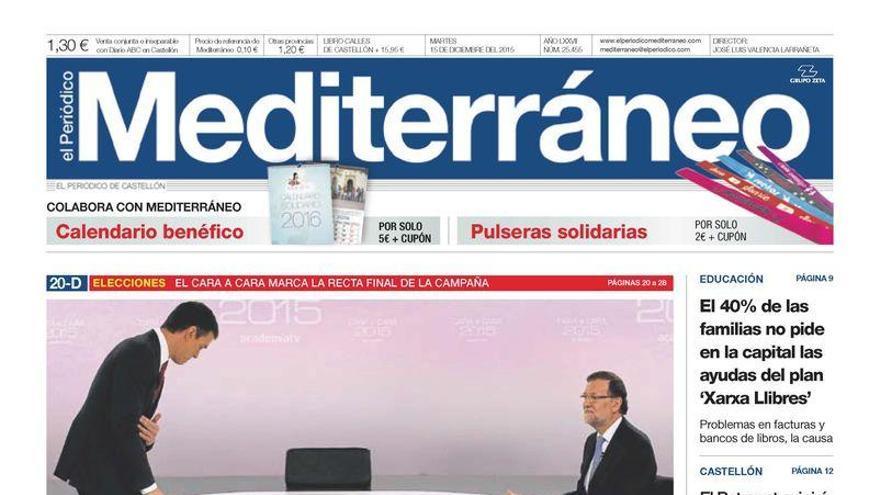 Sánchez acorrala a Rajoy con la corrupción, en la portada de Mediterráneo