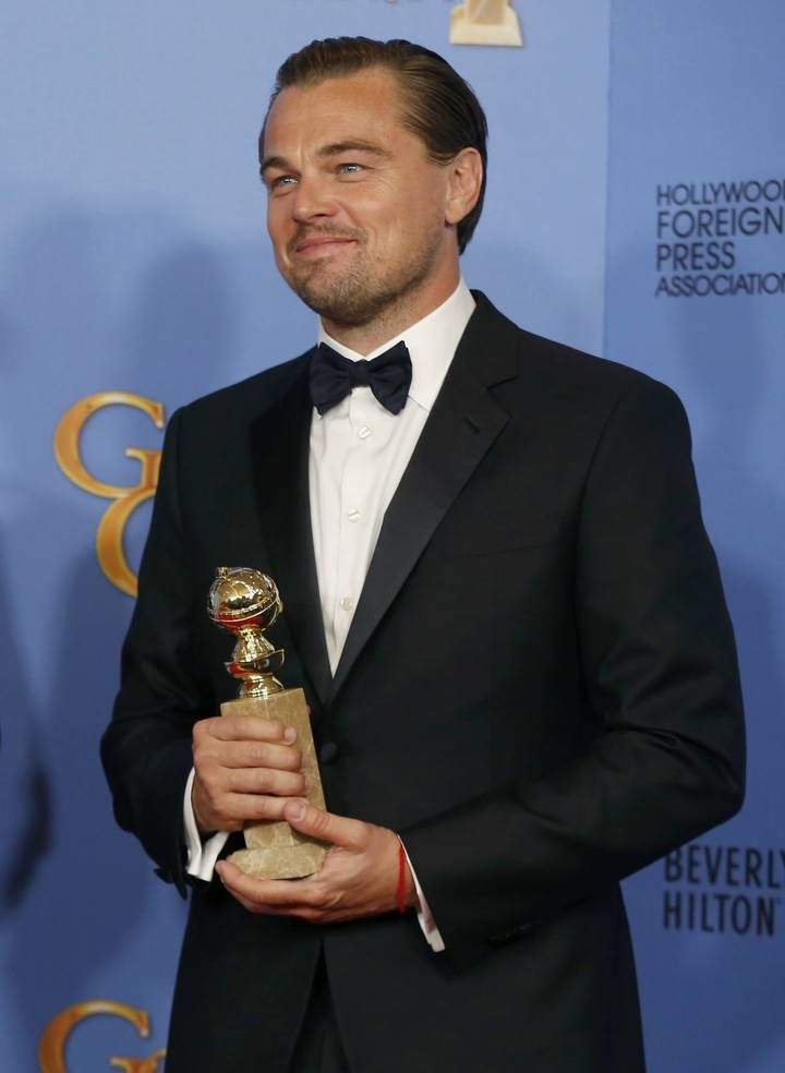 "Leonardo DiCaprio poses with the award for Best Performance by an Actor in a Motion Picture - Drama for his role in ""The Revenant"" backstage at the 73rd Golden Globe Awards in Beverly Hills"