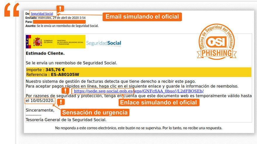 Warnung vor gefälschten E-Mails der Seguridad Social