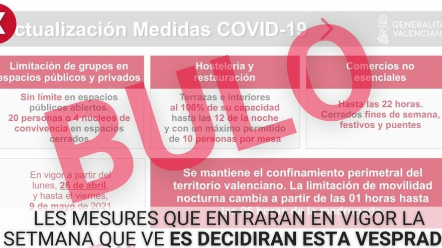 La Generalitat desmiente un bulo sobre nuevas restricciones en la Comunidad Valenciana