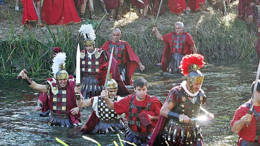 Las tropas romanas cruzan hoy el río Lethes en Xinzo