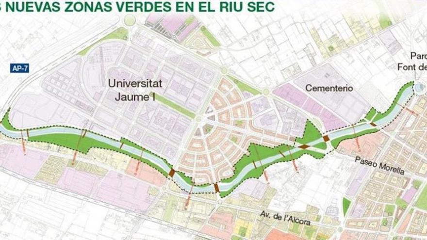 Castellón potencia el Riu Sec con una zona verde de 4 kilómetros y pasarelas