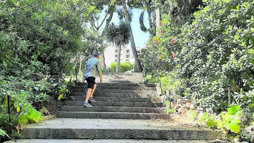 Una parte de los jardines de sa Quarantena de Palma lleva meses precintada por desperfectos