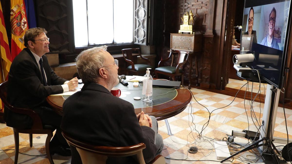 Videconferencia entre Ximo Puig y José Manuel Casas.