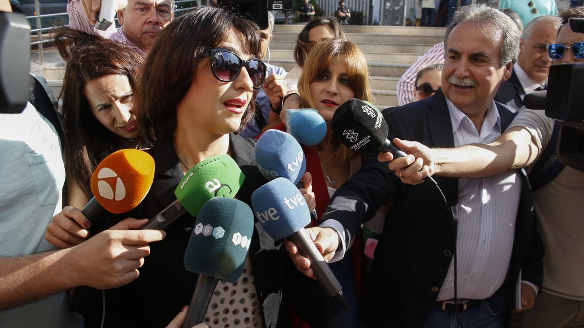Juana Rivas, en una comparecencia ante los medios