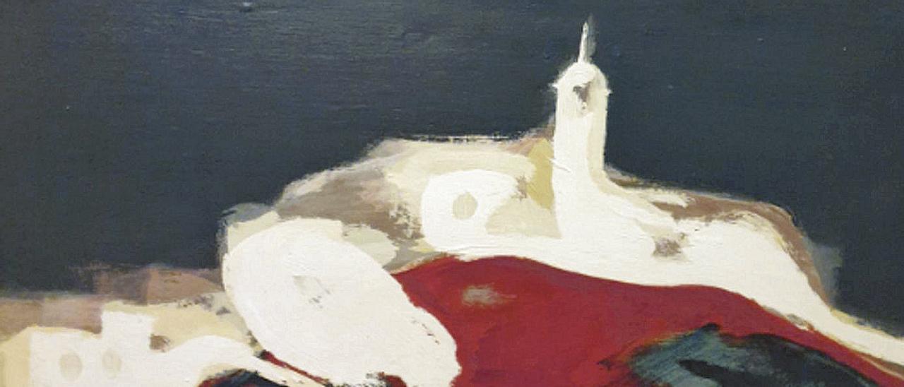 Castropol, desde la Linera, pintado en 1971.