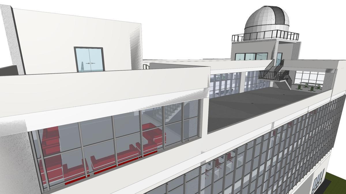 Detalle del diseño arquitectónico realizado en un proyecto del futuro Centro de Estudios de la Facultad de Ingeniería de la Universidad del Valle (Colombia) que cuenta con un Observatorio Astronómico.