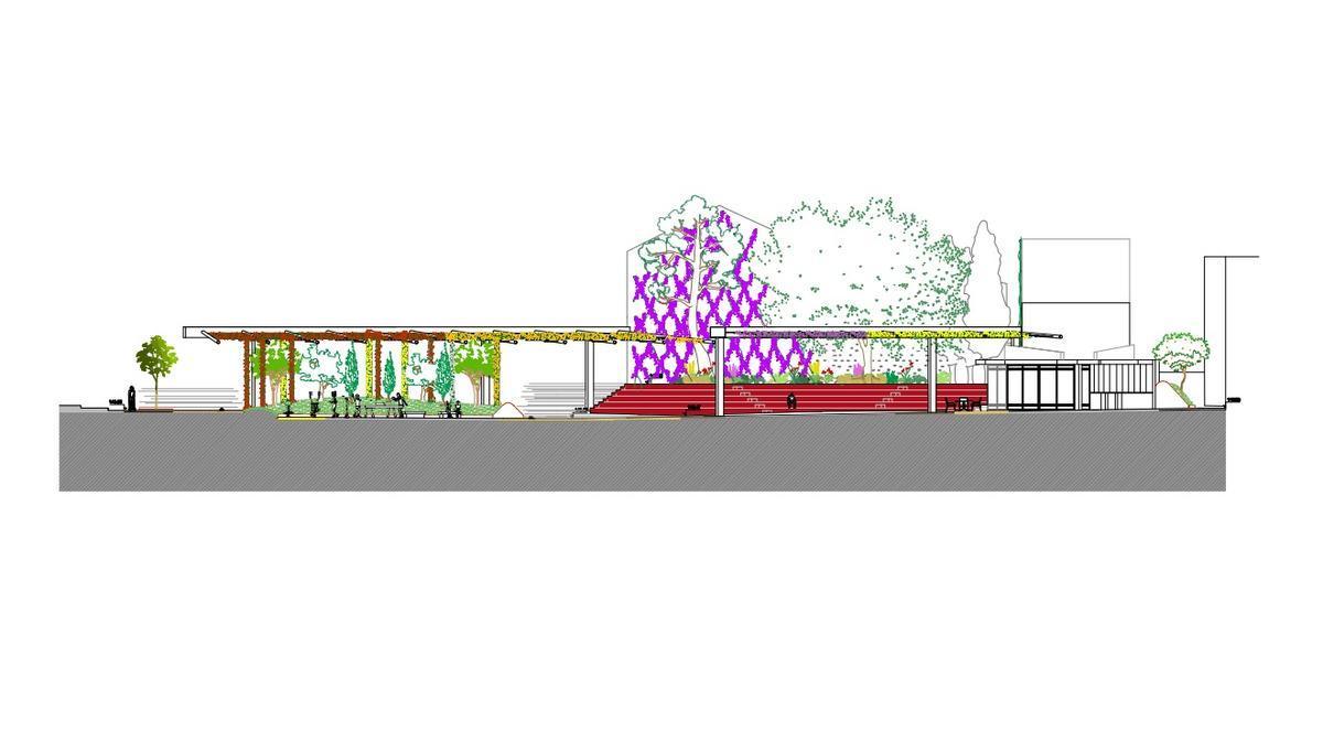 El proyecto mantiene el gran ficus ya existente e introduce mucha vegetación