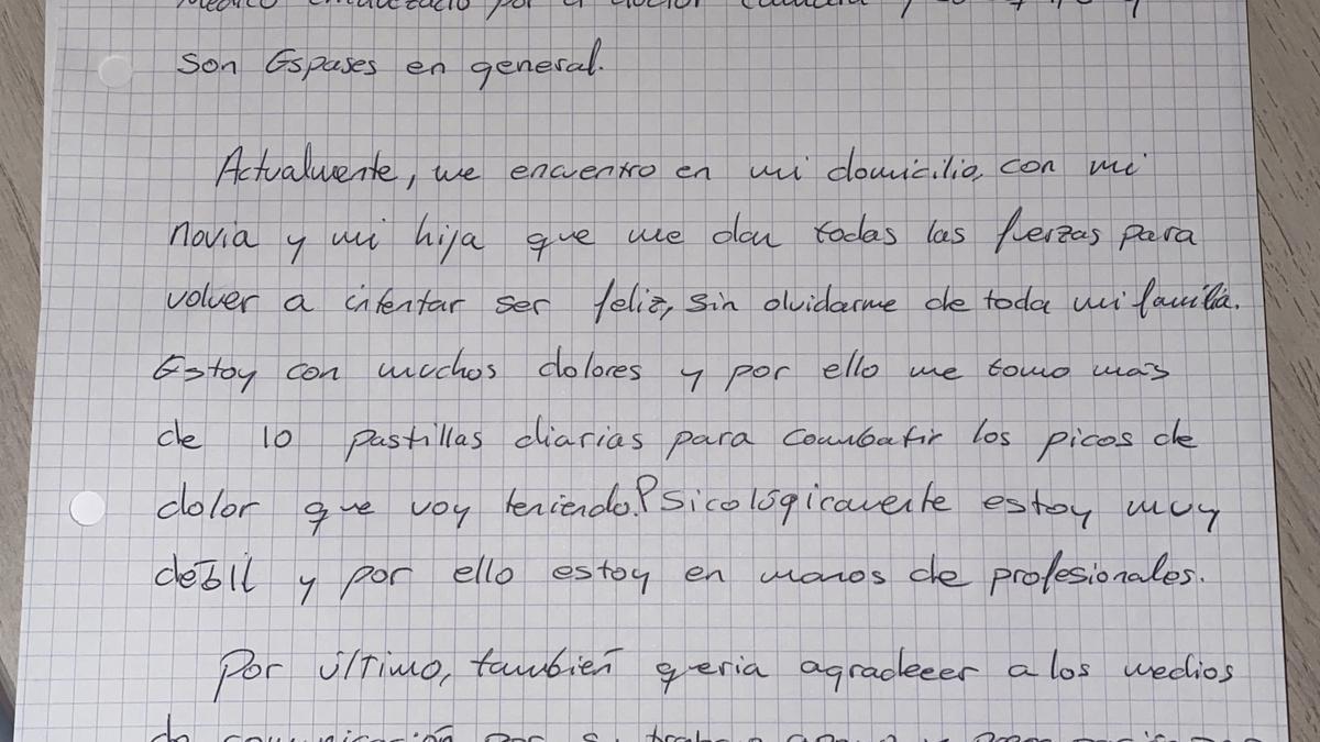La carta escrita por el joven herido en el accidente de s'Arenal