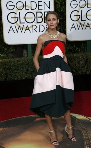 Socialite Olivia Palermo arrives at the 73rd Golden Globe Awards in Beverly Hills