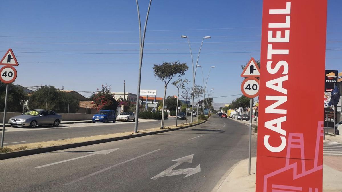 Poste de entrada al polígono de Canastell, el más grande de San Vicente.