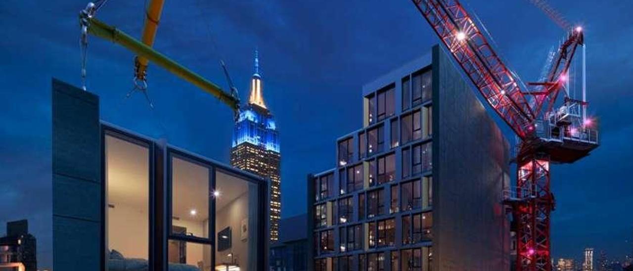 Una visión idealizada de la construcción del hotel modular que promueve la cadena Marriott en Nueva York.