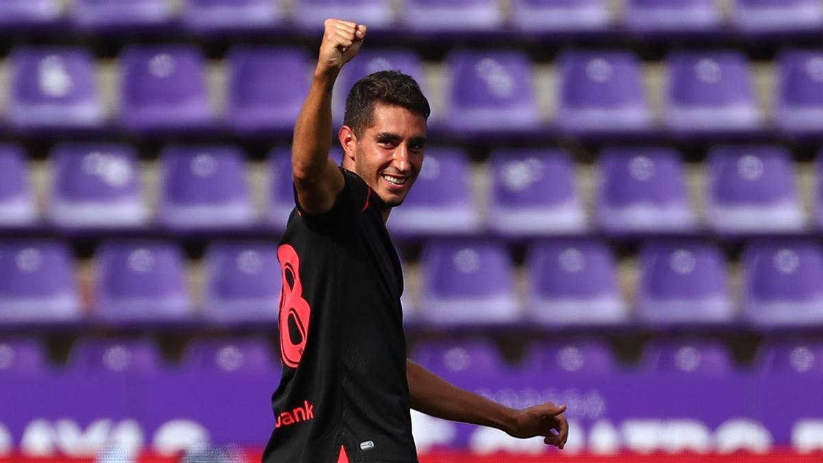 Roberto López celebra su gol en Primera ante el Valladolid.   TWITTER ROBERTO LÓPEZ