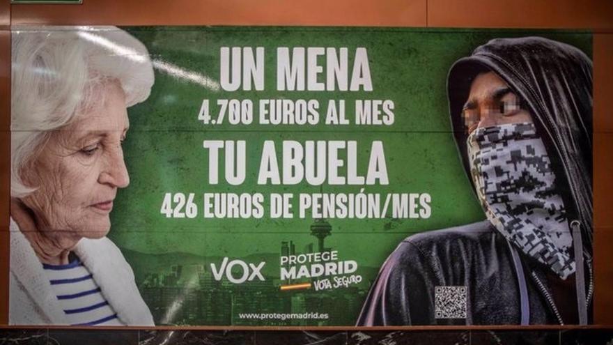 Polémico cartel de campaña de VOX que criminaliza a los menores migrantes
