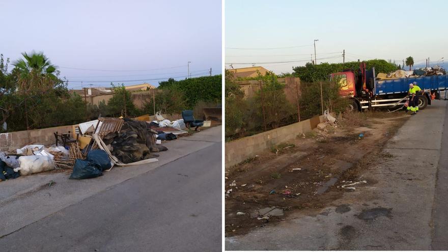 San Pedro del Pinatar retira 325 toneladas de escombros depositados irregularmente en la calle