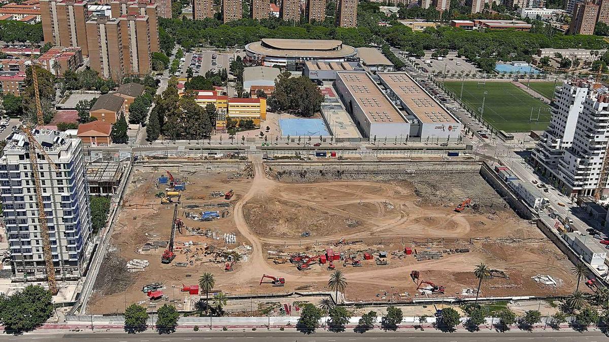 Vista aèria de les obres del projecte Casal Espanya Arena. | LEVANTE-EMV