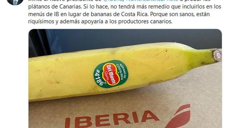 Gabriel Mato reta a Iberia a probar el plátano canario