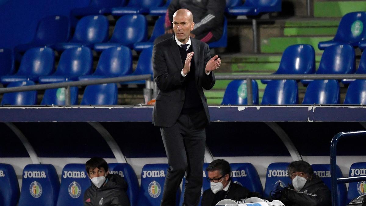 Zinedine Zidane, en el partido ante el Getafe