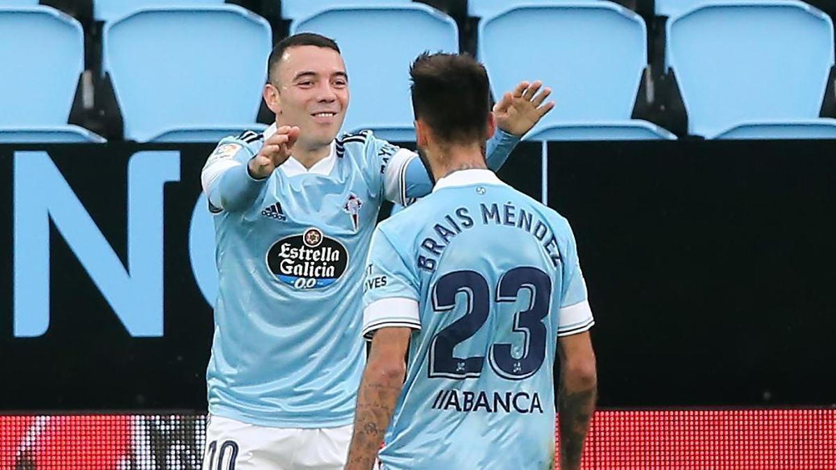 Iago Aspas y Brais Méndez, durante un partido de esta temporada en Balaídos