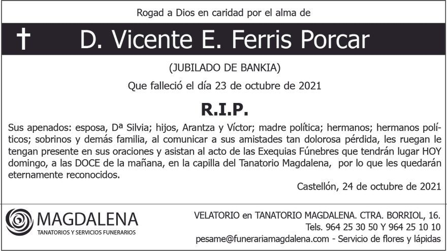 D. Vicente E. Ferris Porcar