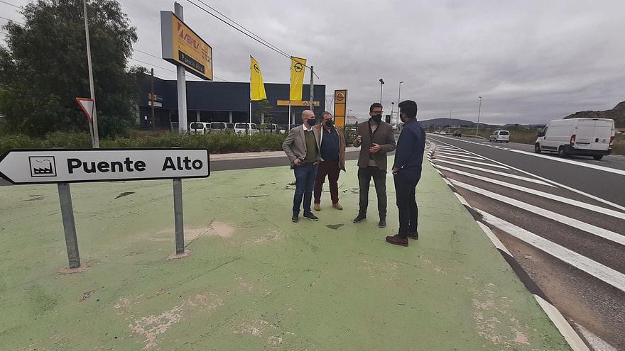 Carreteras paraliza construir en la N-340 la rotonda de acceso al polígono Puente Alto de Orihuela