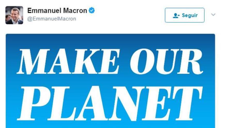 Macron se convierte en el francés más retuiteado con su 'Make our planet great again'