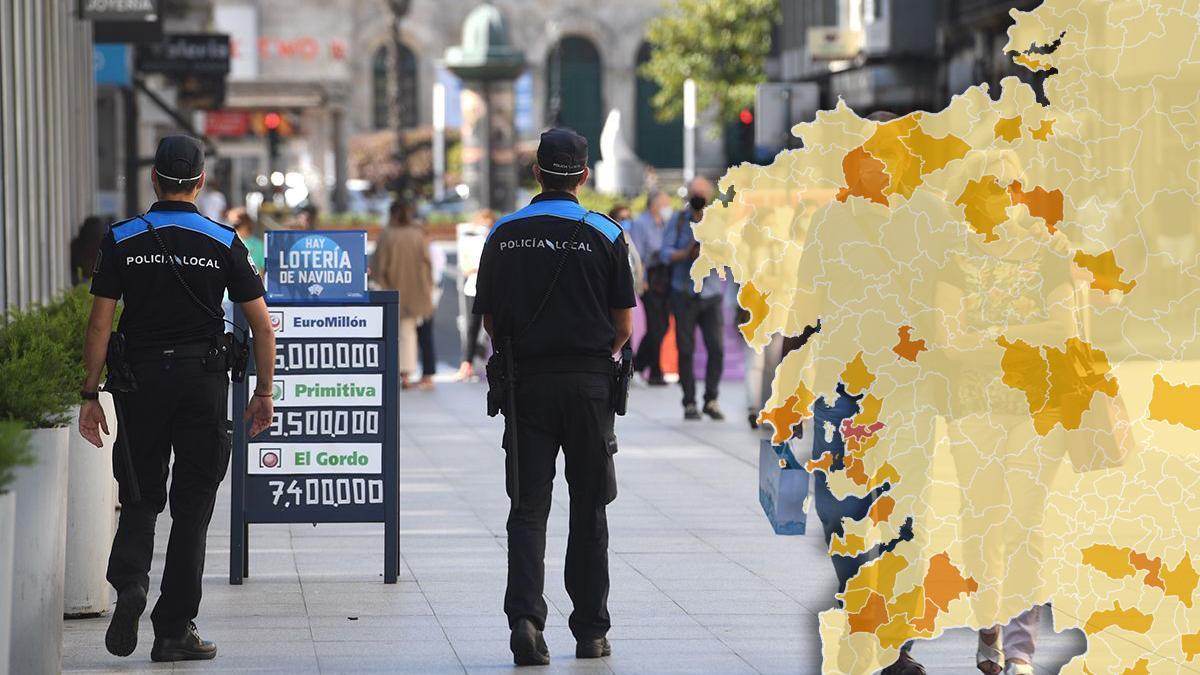 Imagen de fondo: Dos policías controlan el cumplimiento de las medidas contra el coronavirus