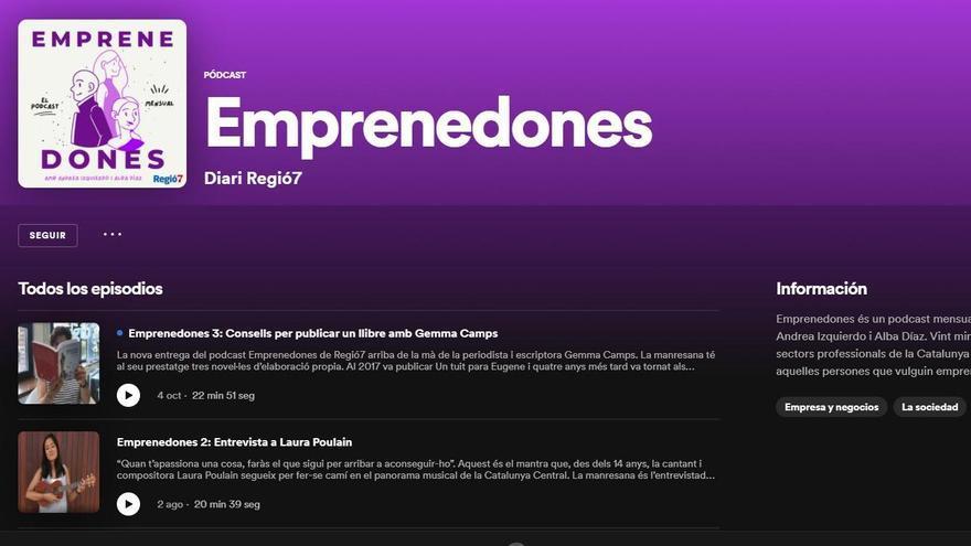 Emprenedones, el podcast de Regió7, estrena perfil a Spotify