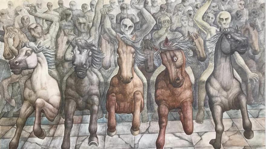 """El coronavirus """"galopa"""" en el arte de López de Arroyabe"""