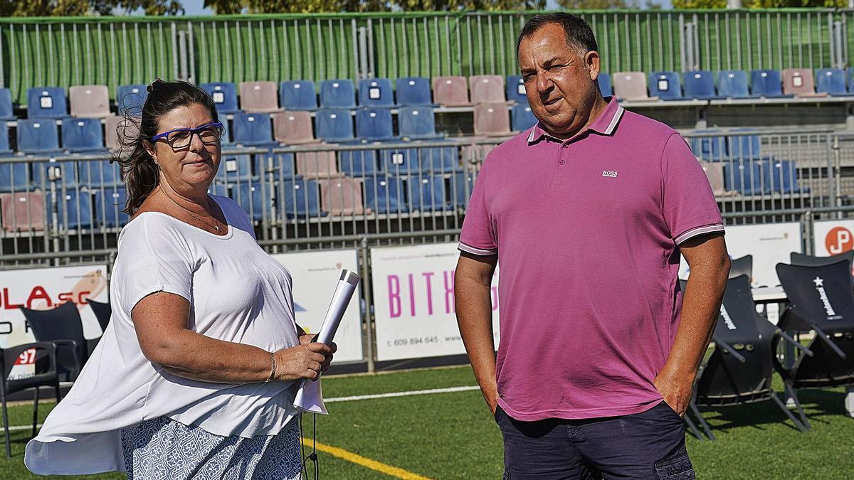 Isabel Tarragó i Oriol Alsina, ahir al Municipal de Llagostera