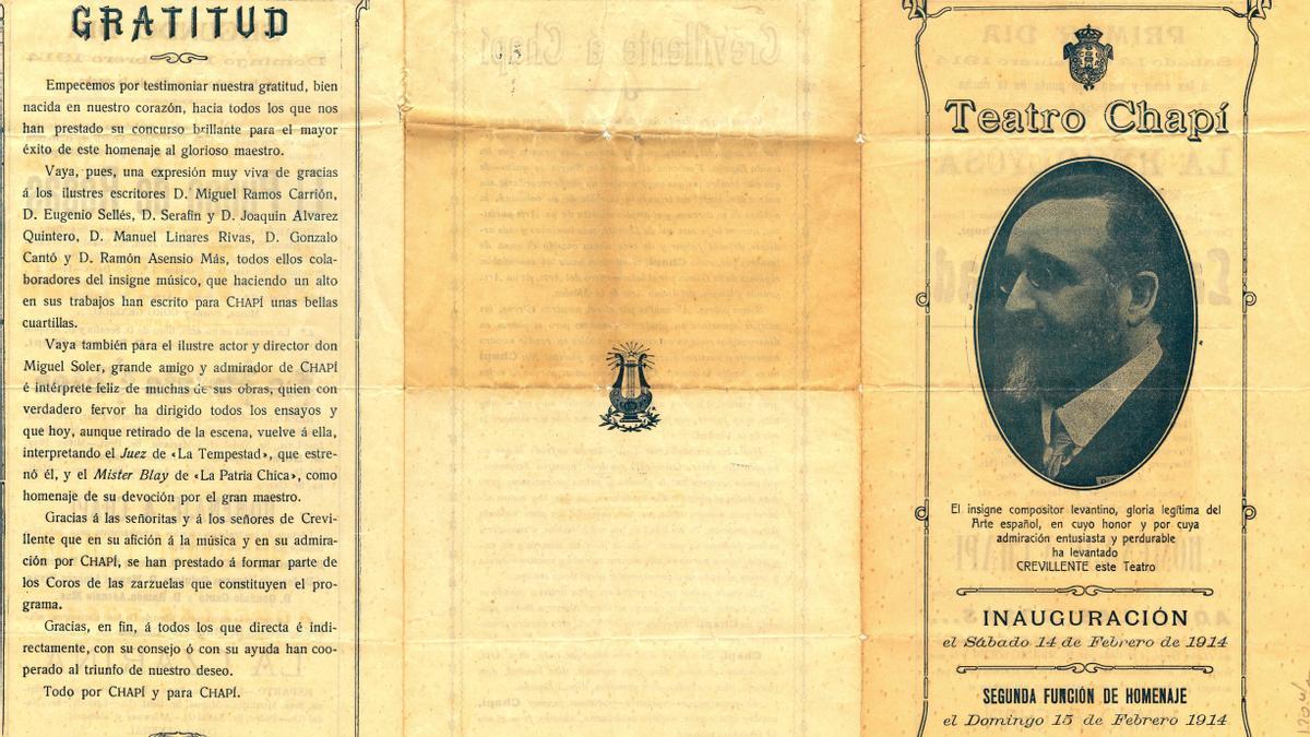 Un precioso documento recoge la inauguración del Teatro Chapí, hace 107 años, en Crevillent