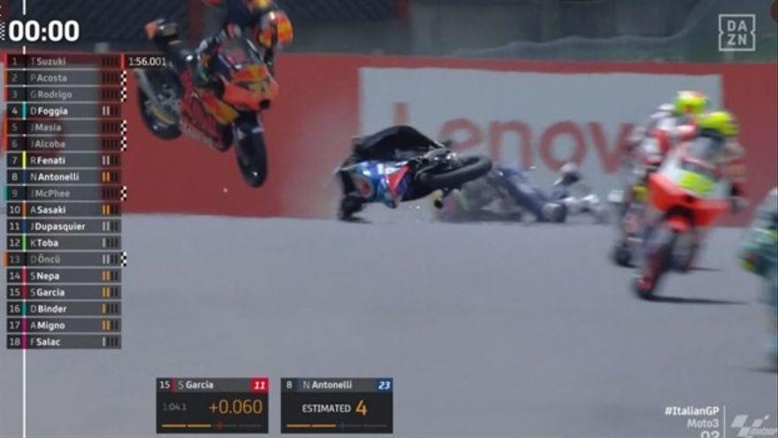 Gravísimo accidente de Dupasquier en Moto3