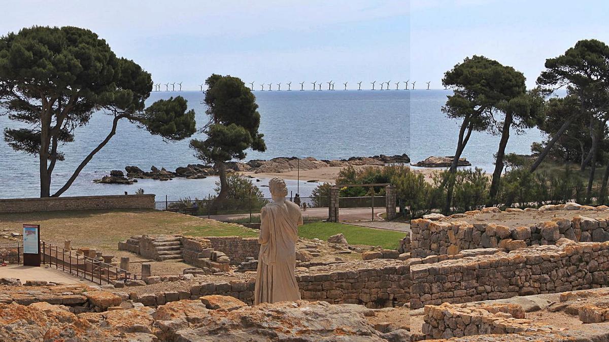 Una simulació dels molins vistos des del jaciment d'Empúries.  | PLATAFORMA ANTI PARC EÒLIC