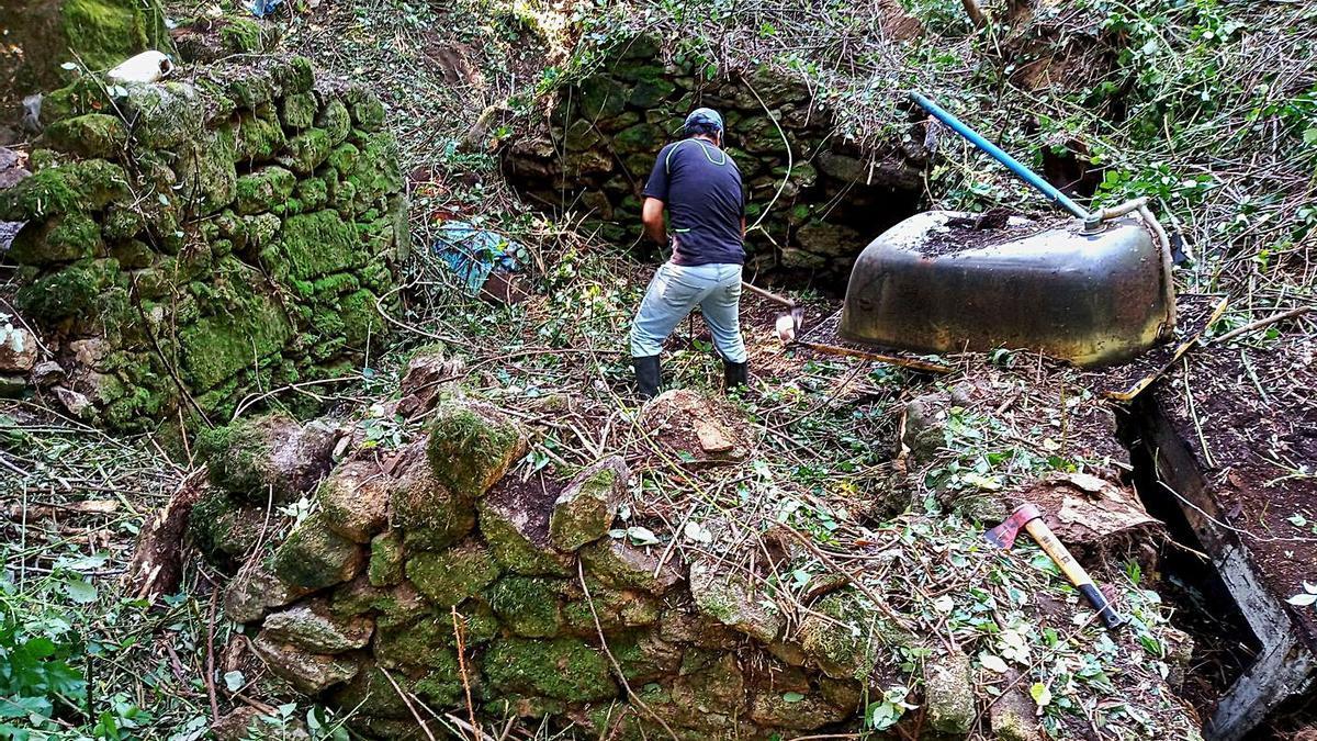 Un miembro del colectivo cultural despeja los restos del Muíño do Rato, localizado en el camino de Xote. |