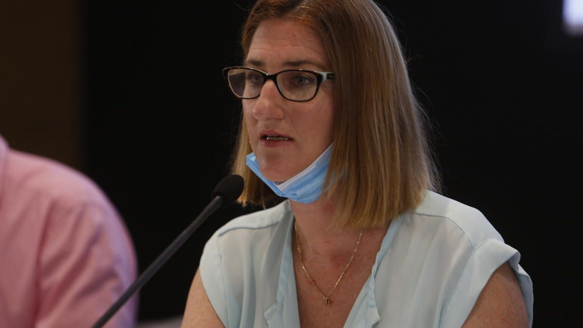 La edil Mari Carmen de España, durante las sesiones de la Comisión de Recuperación