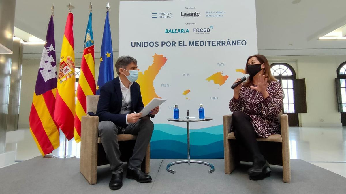 La presidenta de las Illes Balears, Francina Armengol, durante su entrevista