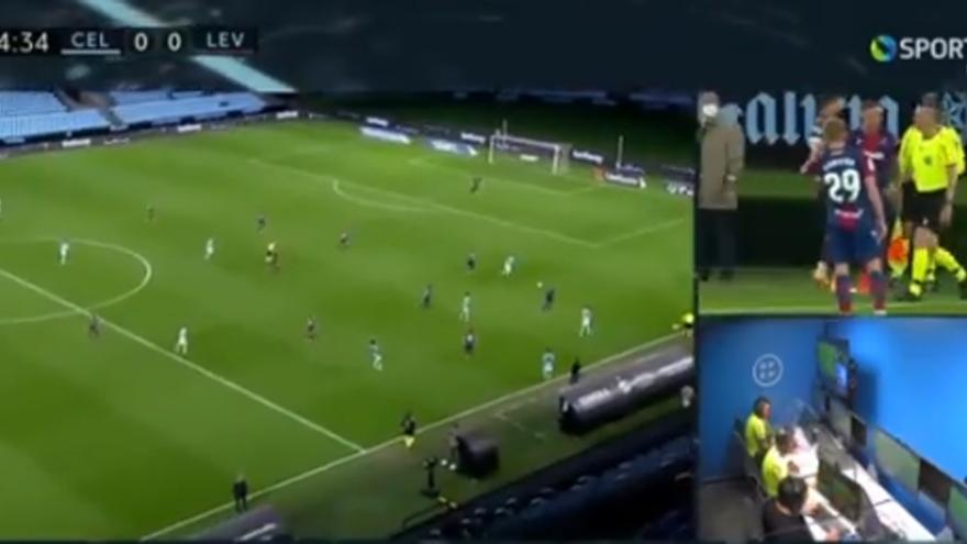 El Levante fue protagonista de una jugada similar al gol ilegal de Mbappé
