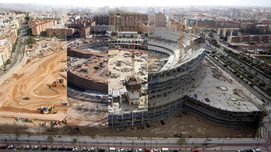 Doce años de obras paradas en el Nuevo Mestalla