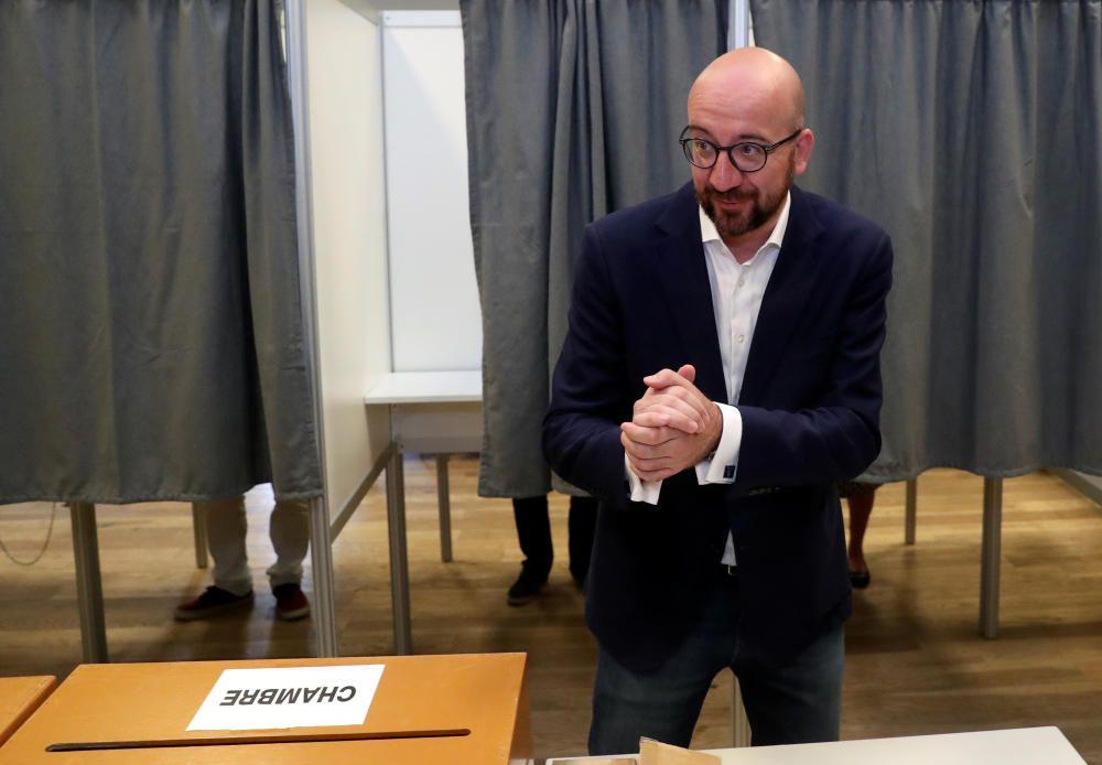 Belgian Prime Minister Charles Michel gestures ...