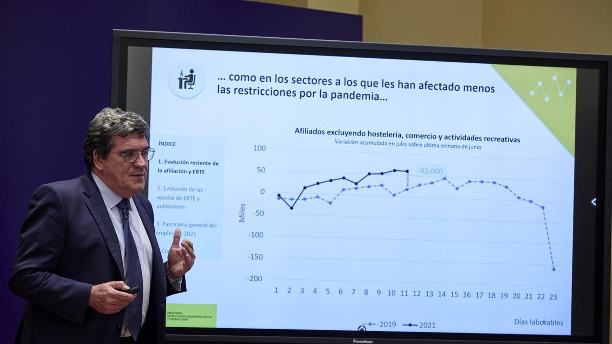 El ministro de Inclusión, Seguridad Social y Migraciones, José Luis Escrivá, durante la presentación de los datos.